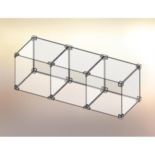 Cubo espositore in Plexiglas® 3x1